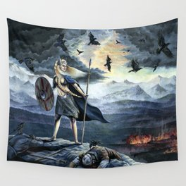 Valkyrie and Crows Wall Tapestry