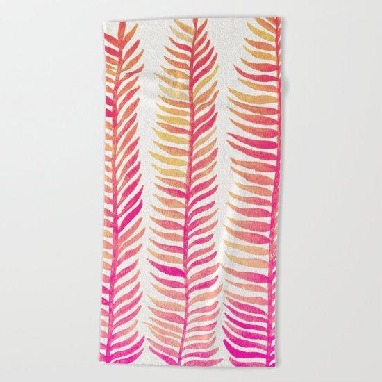 Pink Ombré Seaweed Beach Towel