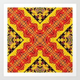 ethnic cross red Art Print