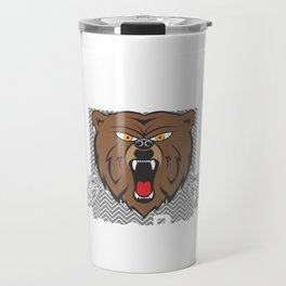 Protected by Papa Bear badge claw ears eyes hands, loves me you outfit shirt Travel Mug