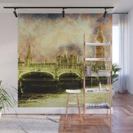 Abstract Golden Westminster Bridge in London Wall Mural