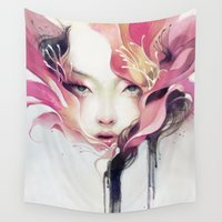 portrait Wall Tapestries featuring Bauhinia by Anna Dittmann