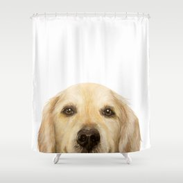 Golden retriever Dog illustration original painting print Shower Curtain