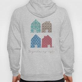 4 casitas esgrafiadas con colores. Houses. House. Hoody