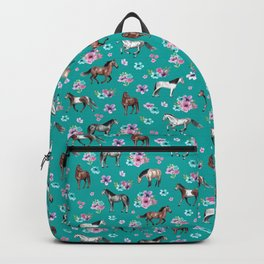 Horse Pattern, Floral Print, Turquoise, Little Girls Room, Horses Backpack