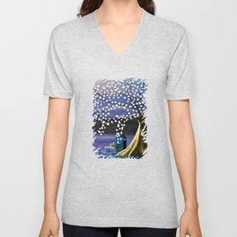Tardis Art Alone And The Tree Blossom Unisex V-Neck