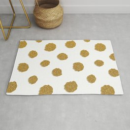Golden touch III - Gold glitter effect polka dot pattern Rug