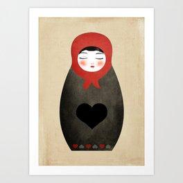 Matryoshka paperdoll Heart Art Print