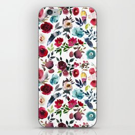 Burgundy pink teal blue watercolor boho floral iPhone Skin