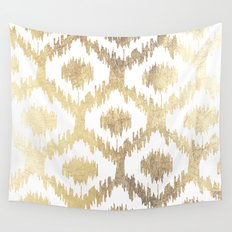 Modern white hand drawn ikat pattern faux gold  Wall Tapestry