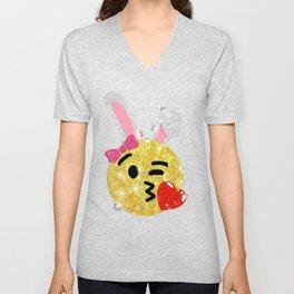 Easter Bunny Emoji Shirt Unisex V-Neck