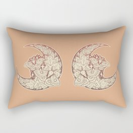 Moth & Moon   Autumn Terra Cotta Palette   Nature Art Rectangular Pillow