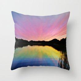 Pastel Rainbow Sunset Lake Throw Pillow