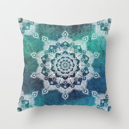 Mandala Aqua Spirit Spiritual Zen Bohemian Hippie Yoga Mantra Meditation Throw Pillow