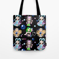 artrave Tote Bags featuring #artRAVE Pattern by Aldo Monster