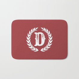 Rustic Red Monogram: Letter D Bath Mat