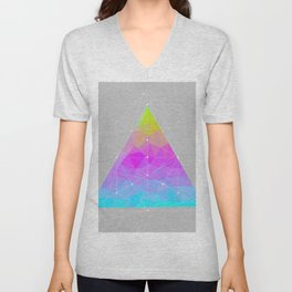 The Dots Will Somehow Connect (Geometric Pyramid) Unisex V-Neck