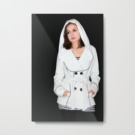 Beautiful girl in a white coat with hood Metal Print