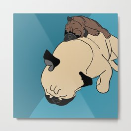Pug and puppy napping Metal Print