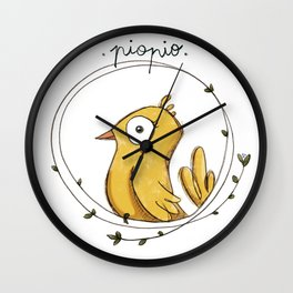 Piopio Yellow Wall Clock