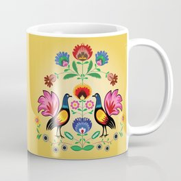Polish Folk With Decorative Floral & Cockerels Coffee Mug
