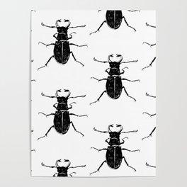 MINIMAL + MONOCHROME BEETLE PATTERN Poster
