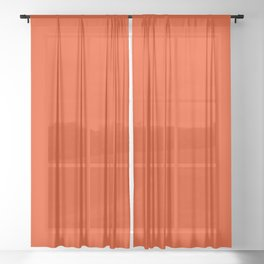 Solid Cherry Tomato pantone Sheer Curtain