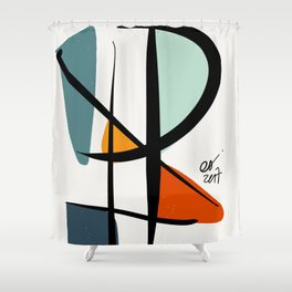 Abstract Minimal Lyrical Expressionism Art Blue Orange Shower Curtain