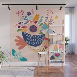With Flowers On Her Feathers She Flies Freely Wall Mural