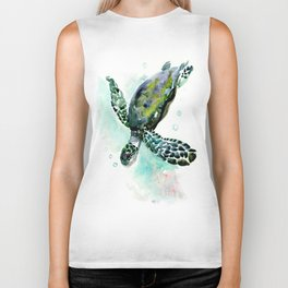 Sea Turtle, underwater scene,  green turquoise beach house design Biker Tank
