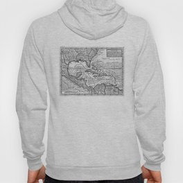 Vintage Map of the Caribbean (1732) BW Hoody