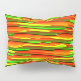 Horizontal vivid curved stripes with imitation of the bark of a red tree trunk. Pillow Sham