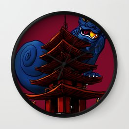 a Dog a Panic in a Pagoda Wall Clock