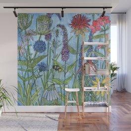 Watercolor Garden Flower Botanical Wildflowers Lady Slipper Orchid Wall Mural