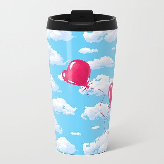 Two heart shaped red balloons Metal Travel Mug