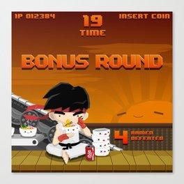 Street Fighter Ramen Bonus Round Canvas Print
