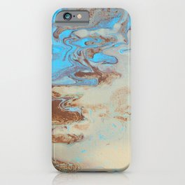 Fluid Art Acrylic Painting, Pour 27, Brown, Tan & Blue Blended Color iPhone Case