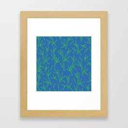 Green Bamboo Pattern Framed Art Print