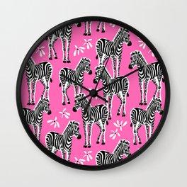zebras on pink Wall Clock