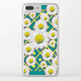 Teal Color Shasta Daisies Lime Pattern Art Abstract Clear iPhone Case