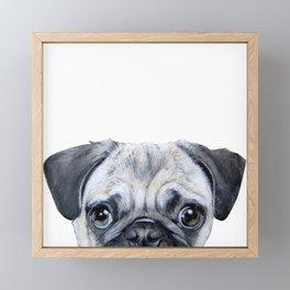 pug Dog illustration original painting print Framed Mini Art Print