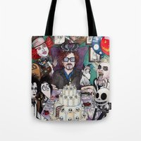 tim burton Tote Bags featuring TIM BURTON TEA PARTY by ●•VINCE•●