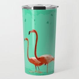 Flamingos on Sea Green Travel Mug