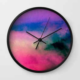 Fog Forest Mountain - Pink Rainbow Northern Lights Wall Clock