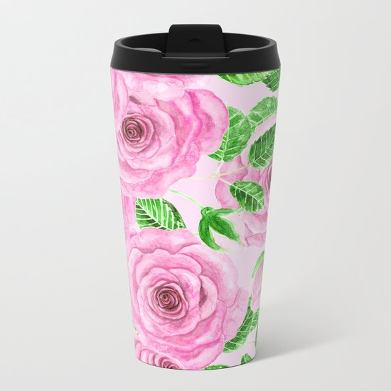 Pink watercolor roses with leaves and buds pattern Metal Travel Mug