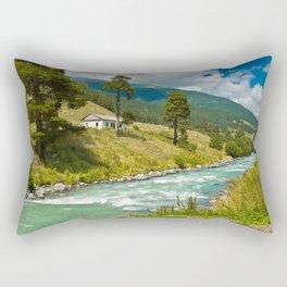 house at the mountain river Rectangular Pillow