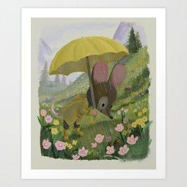 Mouse's Rainy Walk Art Print