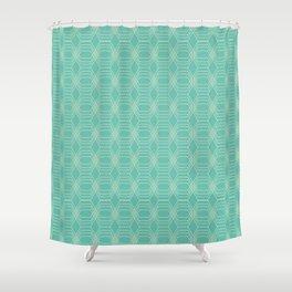 hopscotch-hex sea Shower Curtain