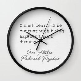 Jane Austen literary quote 16 Wall Clock