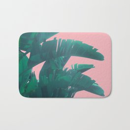 Banana Leaves on pink Bath Mat